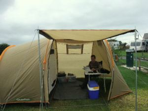 Tim in tent