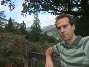 Tim on the hillside path