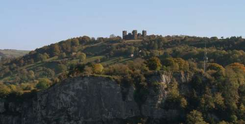 Riber, cliffs and cable car above Matlock Bath