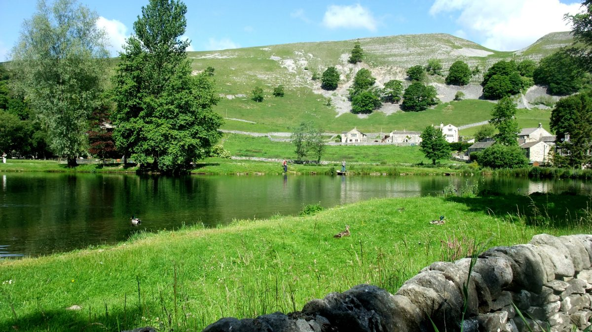 Trout lake beneath Kilnsey Crag
