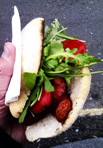 Chorizo, pepper & rocket in ciabatta. Yes please!