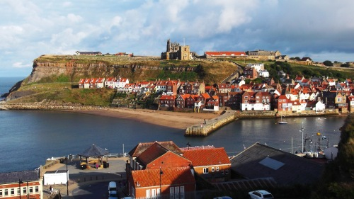 View from outside my lodgings across the harbour to Whitby Abbey