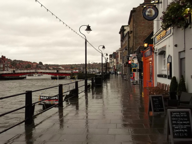 A damp Whitby harbour