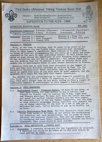 Expedition bulletin (click to enlarge)
